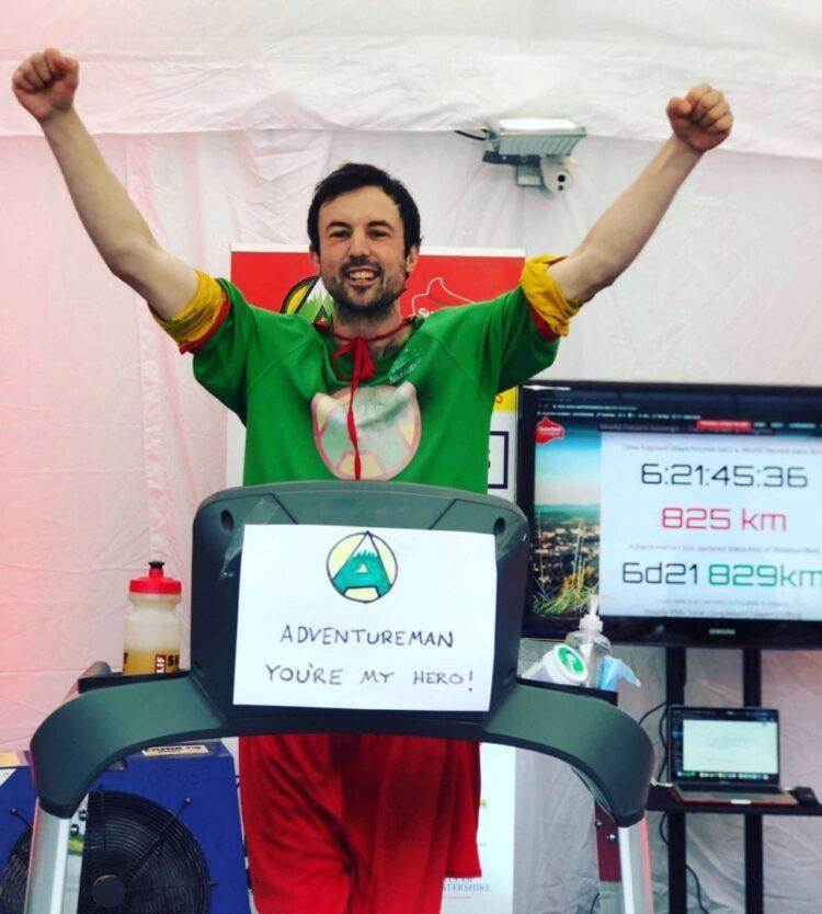 Image showing Jamie McDonald aka AdventureMan celebrating after treadmill challenge