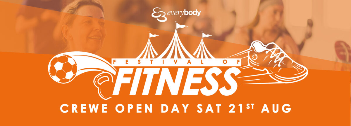 Promotional banner for Crewe Leisure Centre Open Day 2021
