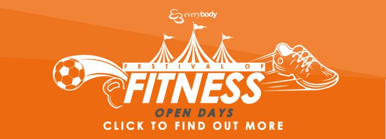 Promotional banner for Festival of Fitness Open Days 2021